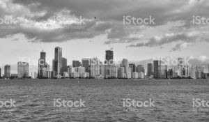 Cityscape of downtown Miami in black and white