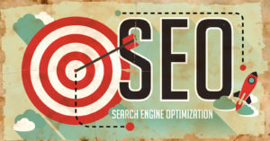 SEO Concept. Poster in Flat Design.